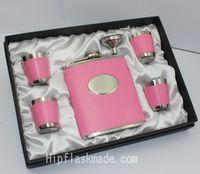 el juego de regalo de la señora, el frasco de la cadera del acero inoxidable del cuero rosado fijó 6pcs ine un sistema