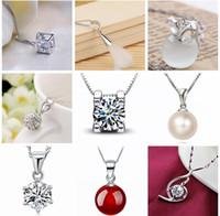 45 Arten 925 Sterlingsilber-hängende Halskette ohne Kette Art- und Weisecharme-Anhängerhalskettenperle Kristallblumen-Anhängerschmucksachen