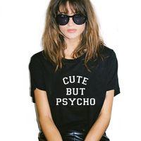 Женская футболка Harajuku топы панк милый, но психо Письмо печати футболка Femme футболки повседневная футболка О-образным вырезом рок Tumblr NV12-R3