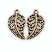 300pcs Bronze Antique Brotte Jolie Pendentif de charme de la feuille creuse pour la fabrication de bijoux Bracelet Collier constatations 10.5x19mm