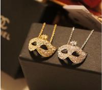 Exquisite Fuchs Maske eingebettete Kristall Diamant kurze Halskette weibliche Halskette Maskerade Großhandel versandkostenfrei