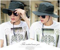 في الشمس قبعة الرجال دلو القبعات الصيف الصيد قبعة واسعة حافة uv حماية رفرف قبعة تنفس شبكة العظام gorras قبعة الشاطئ الرجال