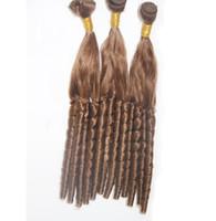 Demetleri # 8 Açık Kahverengi insan saçı demetleri dokuma 300g 32 ADET / GRUP brezilyalı saç örgü demetleri çift atkı kalite, brezilyalı gevşek dalga Saç
