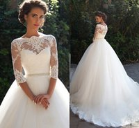 Vintage Lace Wedding Dresses 2019 Bateau 3 4 Long Sleeves Appliques Pearls Sash A Line Plus Size Bridal Gowns Cheap vestido de novia