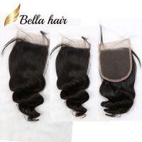 11a自然色ペルーの人間の髪の伸び4 * 4 5 * 5 6 * 6フリーの中央三部のルーズウェーブトップ閉鎖ベラエア