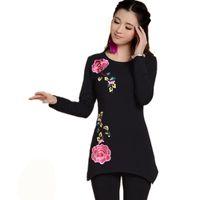 All'ingrosso-bianco e nero girocollo manica lunga maglietta base maglietta autunno nuova moda 2016 Plus size donne ricamo peonia ricamo peonia