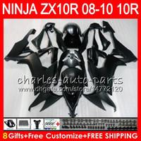 8Gifts 23Colors Body For KAWASAKI NINJA ZX1000C ZX10R 08 09 10 47HM14 ZX1000 Matte black C ZX 10 R ZX-10R ZX 10R 2008 2009 2010 Fairing kit