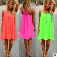 6 cores moda feminina menina praia fluorescência verão dress oco volta chiffon mulheres dress plus size cores neon vestidos cca7331 100 pcs