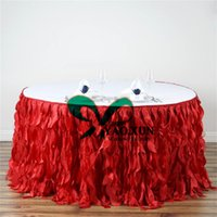 Long 100% Polyester Oilproof Wholesale Round Diameter Wicker Taffeta Table  Skirt \ Table Cloth Skirting For Wedding Decoration