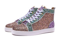 2018 New Fashion High Top Multicolored Glitter Red Bottom Sh...