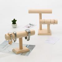 [심플 세븐] 무지 스타일 쥬얼리 팔찌 홀더 천연 나무 팔찌 받침대 Craftshow T 모양 시계 디스플레이 Shopwindow Necklace Tray