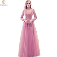 SSYFashion 2017 New Evening Dress Sweet Pink Lace Embroidery...