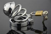 Новый мужской из нержавеющей стали ремесло целомудрия устройство короткое с уретры вилка блокировки фетиш металла 5 Размер кольца, чтобы выбрать взрослые секс-игрушки