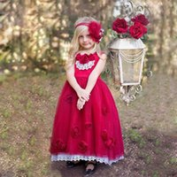 Red Long Flower Girl Dresses With Lace Crew Sleeveless Handm...