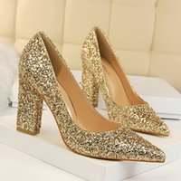 Newest brand sequins chunky heel wedding shoes shining glitt...
