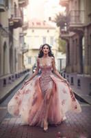 Sexy Mermaid Side Split вечерние платья без спинки погружаясь декольте кружевной аппликации Ближнего Востока выпускные платья с отсюдамным железнодорожным платьем