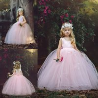 Floor Length Flower Girl Dresses Puffy Pink Tulle Ball Gowns...