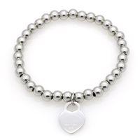 Bracelet en acier Titanium chaud Bracelet de coeur classique pour femme Coeur Charme Perles Bracelet Pultsiras Jamais Fade Joaillerie Toner Silve Gold Silve