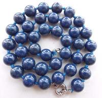 Collana con gemme rotonde di perle blu con gemme di lapislazzuli egiziane da 10 mm 18''sv05