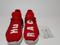 Red Hu Race 2016 BB0619 Factory HUMAN RACE Shoes Pharrell Williams X Top Originals Calidad REAL zapatos Parte inferior con pezones Zapatos para correr