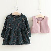 Everweekend Girls Floral Fall Dress with Waistcoats 2pcs Set...