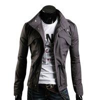Design Primavera Uomo Giacca Stand Collar Personalità Giacche di base Uomo Casual Slim Tipo Cappotto Hombre Invierno Tasche Outwears Abbigliamento