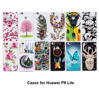 Para Huawei P9 Lite Casos Cool Noctilucent Lovely Butterfly Flowers Owl Feather Deer Diseño Fuerte TPU