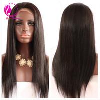 Yüksek kaliteli işlenmemiş dantel ön peruk tutkalsız ipeksi düz insan saçı tam dantel peruk siyah kadınlar için brezilyalı bakire insan saçı peruk