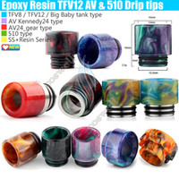 Top Epoxy Resin SS Drip tips Wide Bore 510 810 dripper tip M...