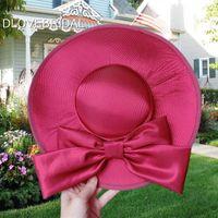 Borgogna Red Satin Bow Bridal Hat Garden Wedding Accessorio per capelli Sposa Madre Occasioni speciali Decorazione del partito Photo Cappelli Spedizione gratuita