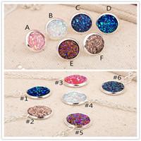 La moda imita la pietra naturale drusa degli orecchini Druzy degli orecchini della collana della pietra preziosa della pietra preziosa placcata argento per i gioielli della signora delle donne NZ413