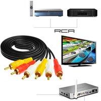 1M Triple 3 RCA Cable AV de audio y video compuesto 250pcs / lot DHL libre