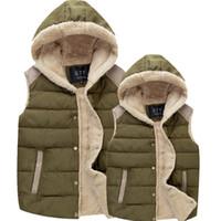 All'ingrosso-2016 nuovi uomini invernali gilet con cappuccio uomo casual giacche termiche senza maniche moda maschile caldo di spessore con cappuccio marchio di abbigliamento LA091