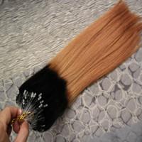 200g Estensioni dei capelli dritte con micro perline T1B / 27 estensioni dei capelli bionde vergini brasiliane miele anello micro loop Ombre