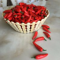 100 Unids simulación Chili Rojo / Pimientos Verdes decoraciones para el hogar Boda Casa Artificial Juguete Cognitivo Mesa de Comedor Molde de Verduras Falsas