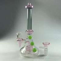 Envío Seguro Grace Pink Beaker Bong con Bowl Cone Piece 3 Green Ball Matrix Per Percolator Straight Oil Rigs Heady Smoking Water Pipes