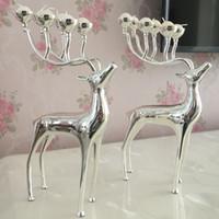 Novos presentes de Natal Prata / ouro / preto banhado cervos forma castiçal de metal