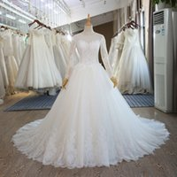 100% Real Pictures A- line Scoop Lace Wedding Dress Long Slee...