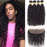 Brazilian Virgin Hair Water Wave With Closure Wet And Wavy H...