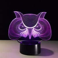 2017 Owl Head 3D Illusion Night Lamp 3D Optical Lamp AA Batt...