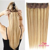 Piano Color 27/613 Clip d'une seule pièce de cheveux remy indiens blonds dans des extensions de cheveux humains pour 5 clips tête pleine