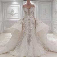 럭셔리 두바이 웨딩 드레스 플러스 크기 인어 웨딩 드레스는 블 링 크리스탈 분리형 기차와 자수 신부 드레스를 블링