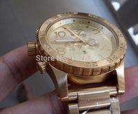 NX Mens 51-30 CRONÓGRAFO A083-502 A083502 todo o Ouro de Aço Inoxidável Relógio de Quartzo 51mm à prova de água Relógio Mostrador De Ouro + caixa original