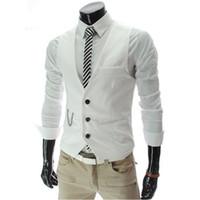 Оптовая продажа-Весна мужская деловой костюм платье жилет Slim Fit V-образным вырезом жилет серый красный M-3XL Z1281