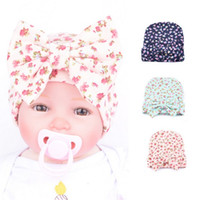 Big bow Baby knit hat Baby girl hat Small flowers infant Mat...