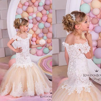2017 Cap Mangas Cristais Lace Tulle Flower Girl Vestidos Mermaid Vintage Child Vestidos de desfile Beautiful Flower Girl Country Wedding Dresses
