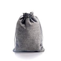 10x14cm gris coutume imprimée Faux jute cordon Pochettes cadeau sacs d'emballage de bijoux Élégant cordon de cordon de jute naturel réutilisable.