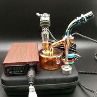 E Digital Nail Kit Eléctrico dab clavo color madera TC PID caja Dabber Dab rig Domeless Titanium carb tapa con petrolífero bong