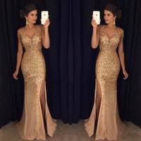 Sparkly 2019 Gold Crystals Tulle Long Prom Dresses Sexy V Ne...