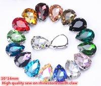 Gratis shippment! 35st / parti 10x14mm Kristallknappar Teardrop Shape Glas i vit k Metallklininställningar Sy på klädskor